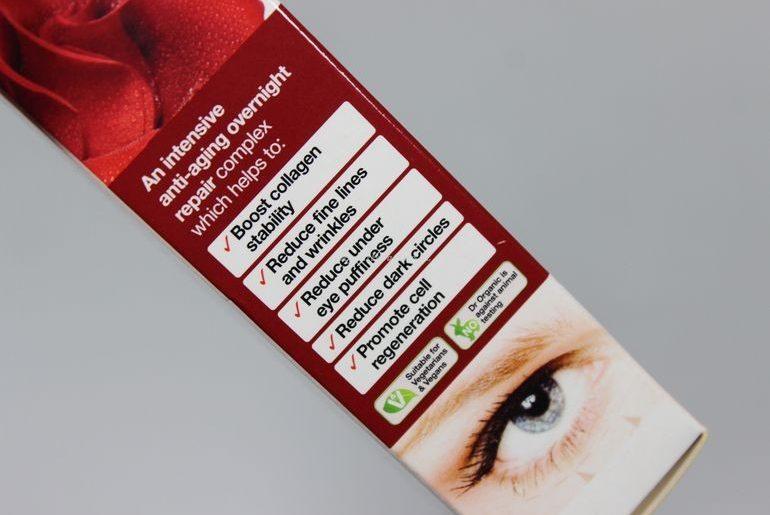 Dettaglio packaging esterno Eye Serum Rose Otto Dr Organic