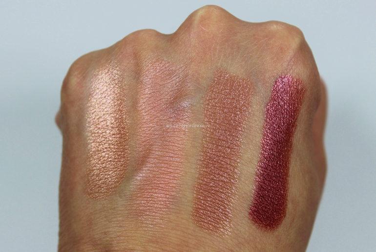 Swatch ombretto 013, blush 004, rossetti 016 e 017 Collezione No Flash, Please! Defa Cosmetics