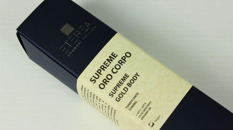 Dettaglio packaging Supreme Oro corpo Eterea Cosmesi
