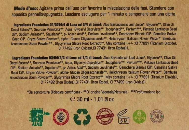 Specifiche Fondotinta Bifasico EcoBio Quarti di Luna Miss Trucco