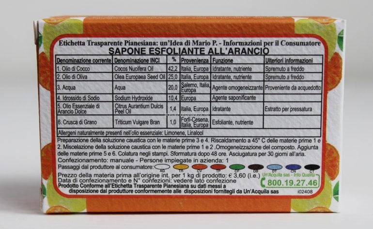 Etichetta Trasparente Pianesiana Sapone Esfoliante all' arancio Il Pettirosso