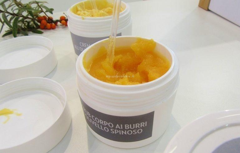 Anteprima Sana 2017 Dettaglio texture Scrub Ricco Olivello Spinoso Biofficina Toscana