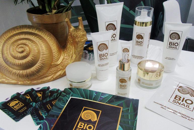 Dettaglio prodotti stand Bio Snail cosmofarma 2018