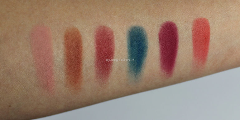 Swatch ombretti matte palette Different II Mulac Cosmetics