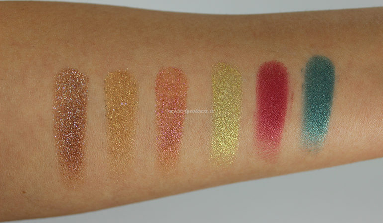 Swatch ombretti shimmer palette Different II Mulac Cosmetics