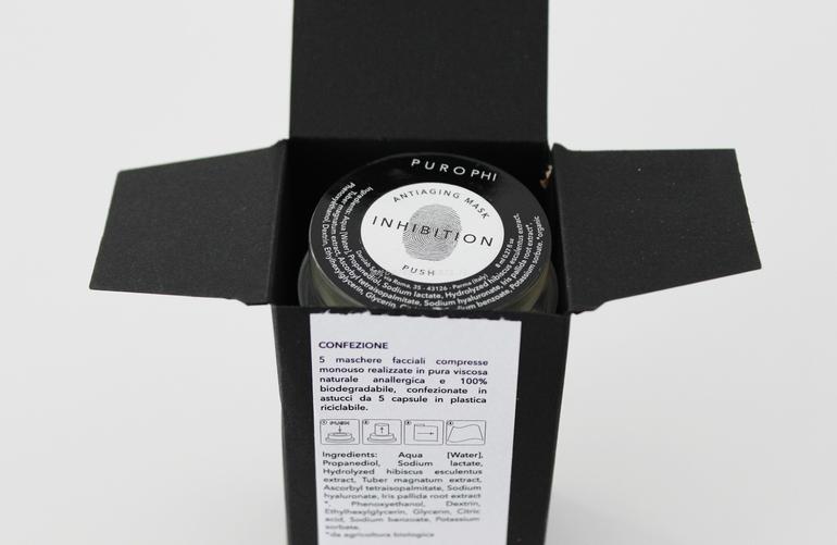 Dettaglio packaging Inhibition Mask Purophi