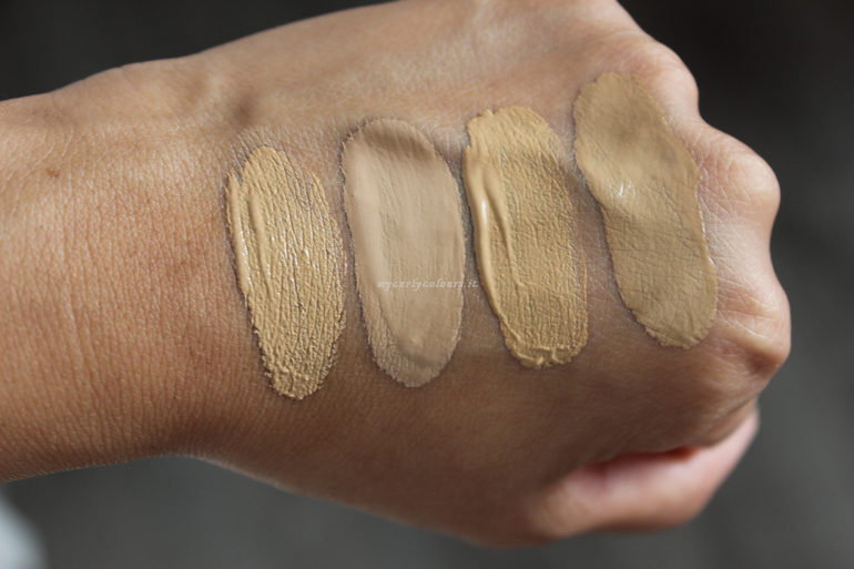 Swatch Sublime Fondotinta e Sublime Drop Foundation 02 e 03 all' interno con luce naturale