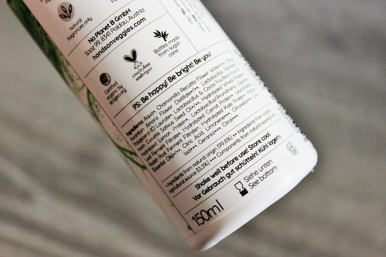 Inci Anti-Frizz Leave-In Conditioner Cucumber Hands on Veggies