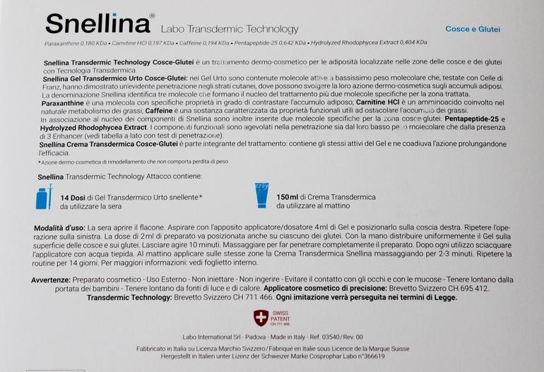 Specifiche Snellina Labo Transdermic Technology Cosce-Glutei Labo