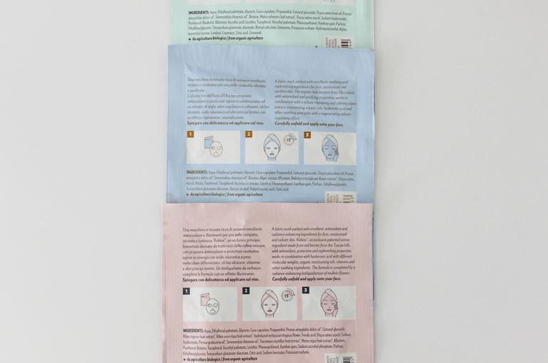 Specifiche maschere in tessuto idratante Biofficina Toscana