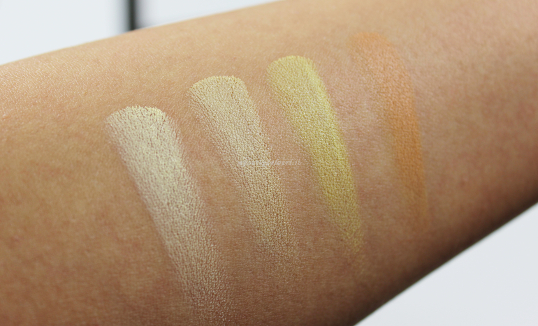 Swatch cialde prima fila Contouring and highlighting Face Palette Atene Mulac