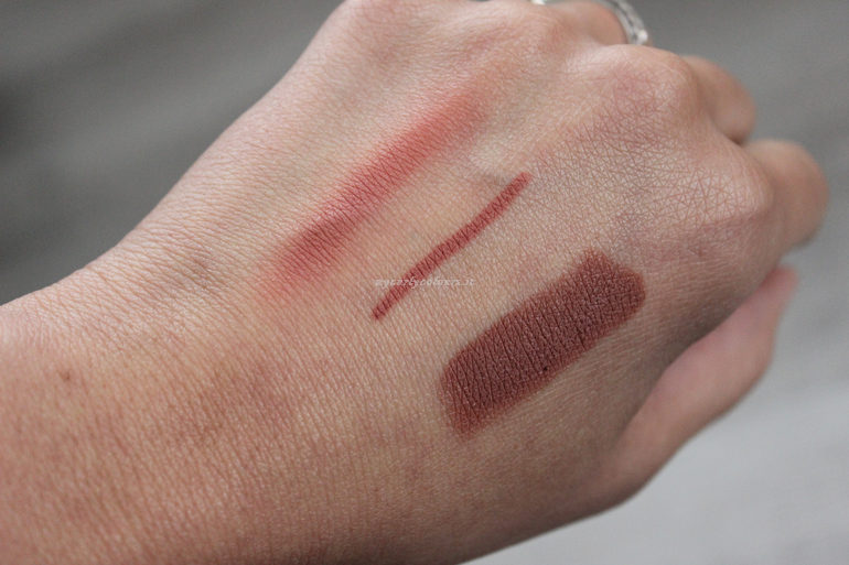 Swatch matita labbra Nude e rossetto Nipple Kali Collection Mulac