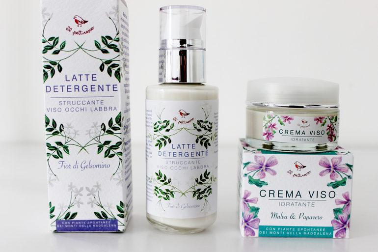 Latte Detergente e Etichetta Pianesiana Crema Viso Idratante Malva e Papavero Il Pettirosso Cosmetici