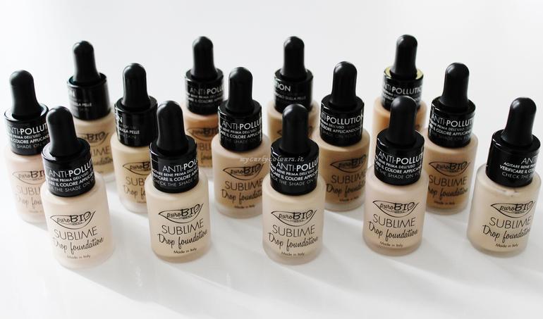 Tutte le 14 tonalità del Sublime Drop Foundation PuroBio Cosmetics