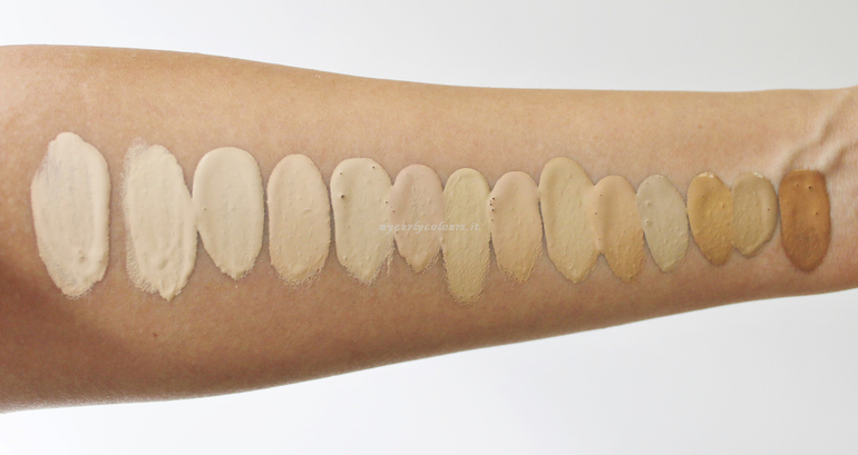 Swatch luce naturale 14 tonalità Sublime Drop Foundation PuroBio Cosmetics