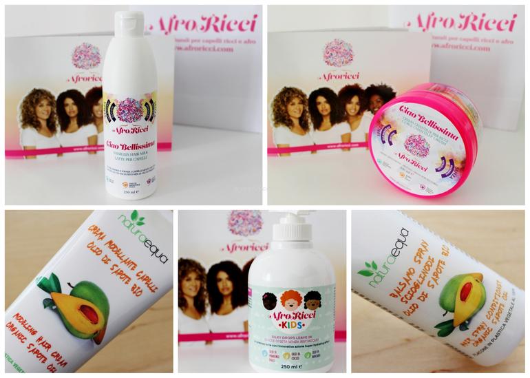 Review mix prodotti capelli Naturaequa e Afroricci styling