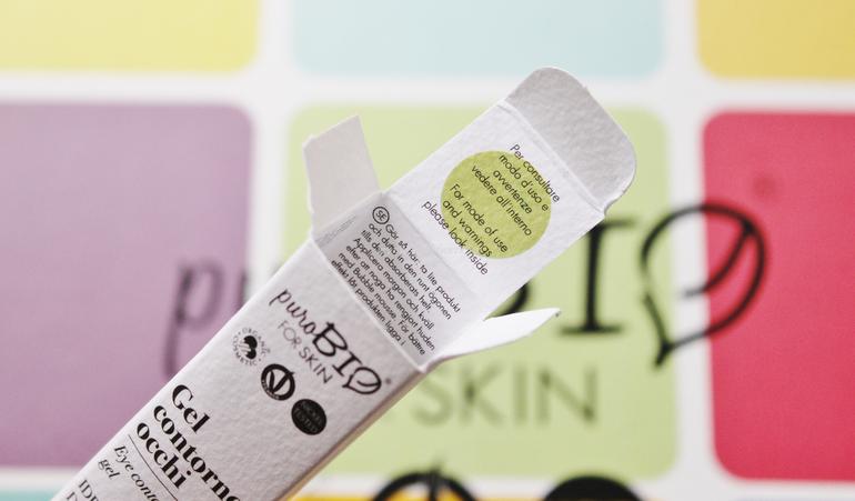 Dettaglio packaging Gel Contorno Occhi PuroBio FOR SKIN