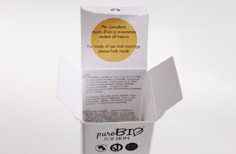 Dettaglio packaging Siero in olio PuroBio For Skin