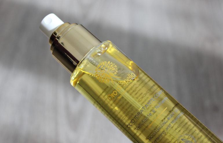 Dettaglio flacone Olio Idratante Corpo Oro di Spello