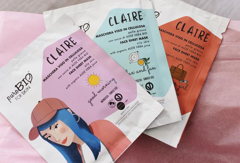 Nuove maschere viso in cellulosa Claire pelle grassa PuroBio for skin