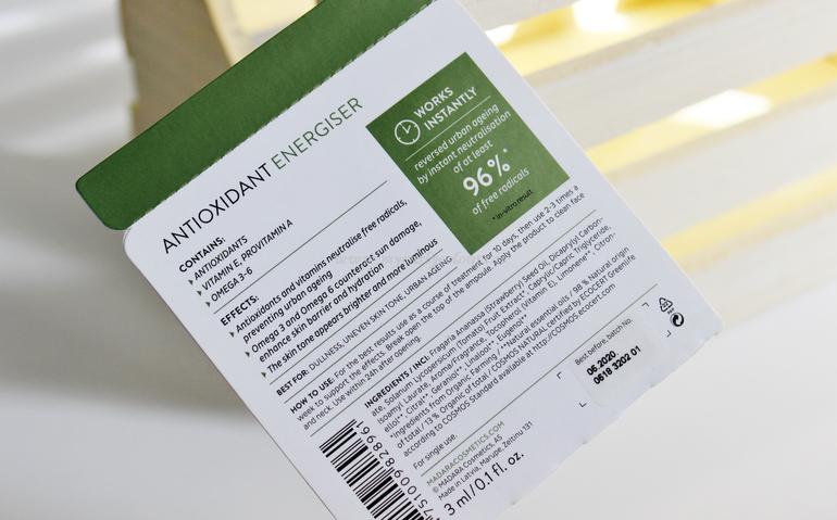 INCI Antioxidant Energizer Booster Ampoule Mádara