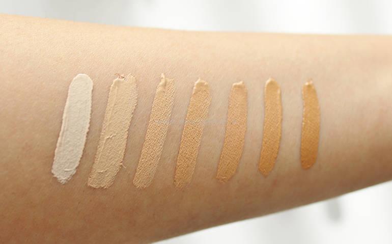 Swatch tutte le tonalità di SUBLIME Luminous Concealer PuroBIO Cosmetics