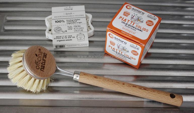 Piatti solido, spazzola piatti con manico e porta sapone 3D biodegradabile Officina Naturae