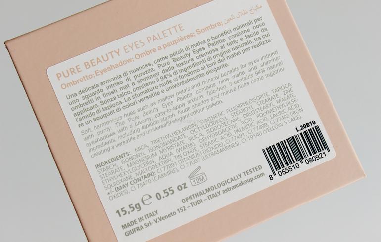 Specifiche e INCI Pure Beauty Eyes Palette Astra