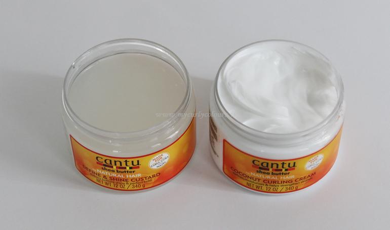 Confronto texture Define & Shine Custard e Coconut Curling Cream Cantu