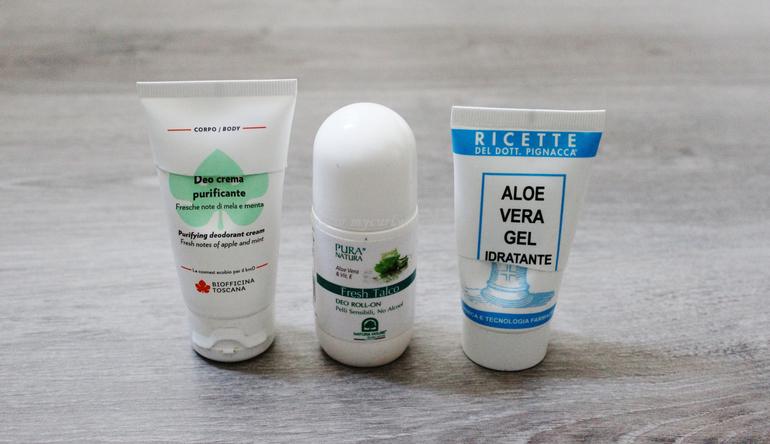 Prodotti finiti corpo - dentifricio Zuccari - deo crema Biofficina Toscana - Aloe Vera Gel Pilogel