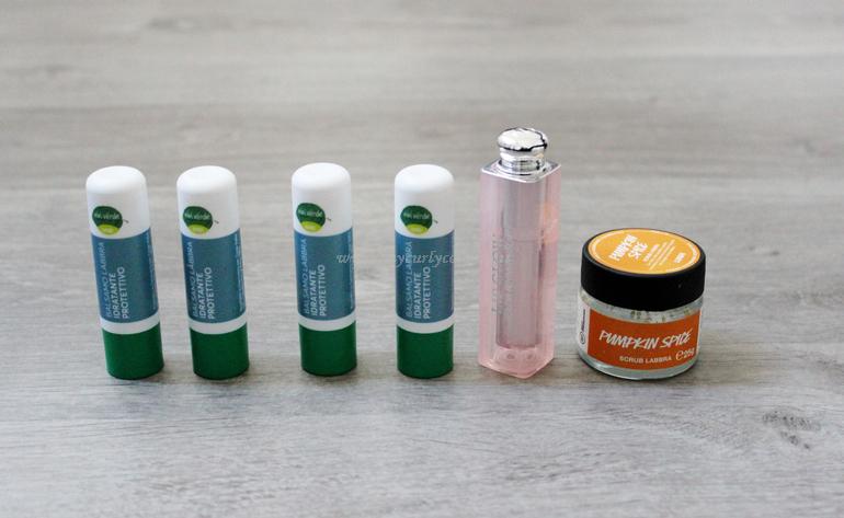 Prodotti finiti labbra - Balsamo labbra Vivi Verde Coop - Lip Glow Dior - lip scrub Lush