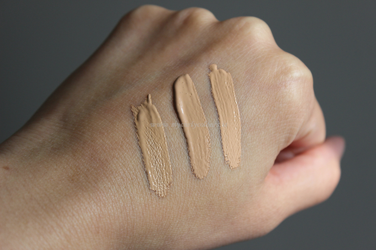 Confronto swatch correttori liquidi - da sx a dx Infaillible More Than Concealer 329 - The Perfectionist Concealer 05 Warm Beige - Boiing Cakeless Concealer 6