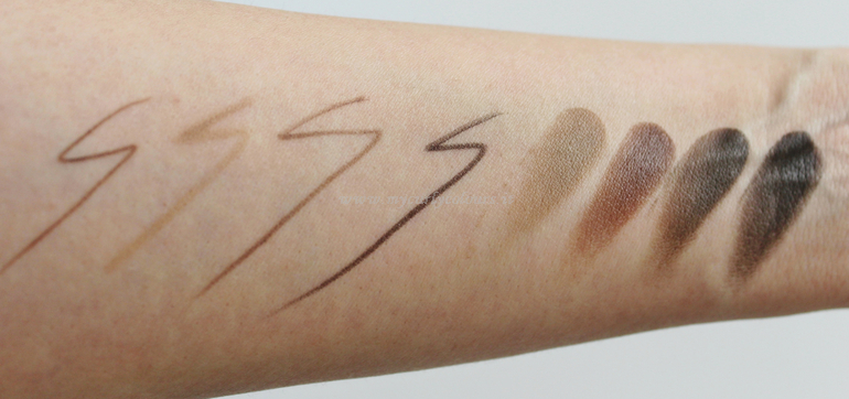 Swatch matite per sopracciglia PuroBIO Cosmetics 07-27-28-48 a confronto con BrowMade PuroBIO 01-02-03-04